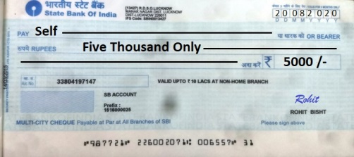 cheque for self withdrawal