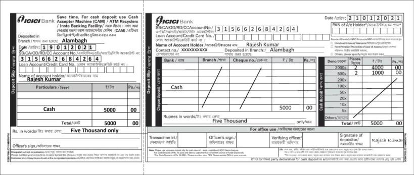 icici bank sample filled deposit slip
