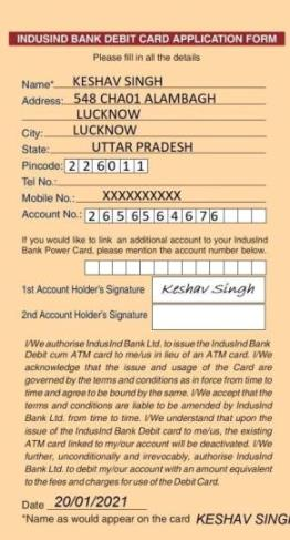 induslnd bank atm card filled sample form