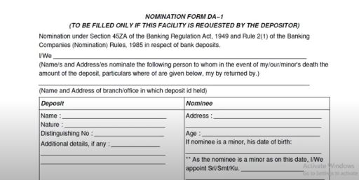 canara bank da-1 nomination form