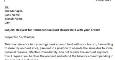 application letter to close bank account